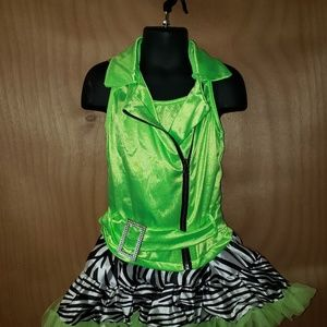 2 pc neon green dance recital outfit